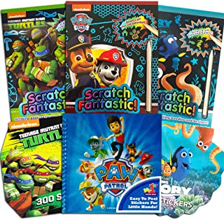 Scratch Books for Kids Paw Patrol Scratch Art Book Set for Kids Toddlers -- 3 Deluxe Reveal Featuring Paw Patrol, TMNT, Fi...