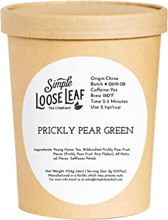 Simple Loose Leaf - Prickly Pear Green Tea - Premium Loose Leaf Green Tea (4 oz) - High Caffeine - Clean and Sweet - USA Hand Packaged - 60 Cups