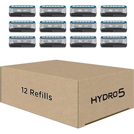 Schick Hydro Skin Comfort Dry Skin 5 Blade Razor Refills for Men with Flip Trimmer, 12 Count