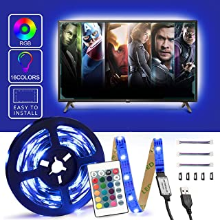 CINLITEK 9.84ft(3m) LED Strip Lights, USB LED TV Backlight Strip with 24Key Remote Control and USB Powered-16 Color Changing 5050 RGB LED Bias Lighting for 32-65inch TV, PC Monitor, Home Theater