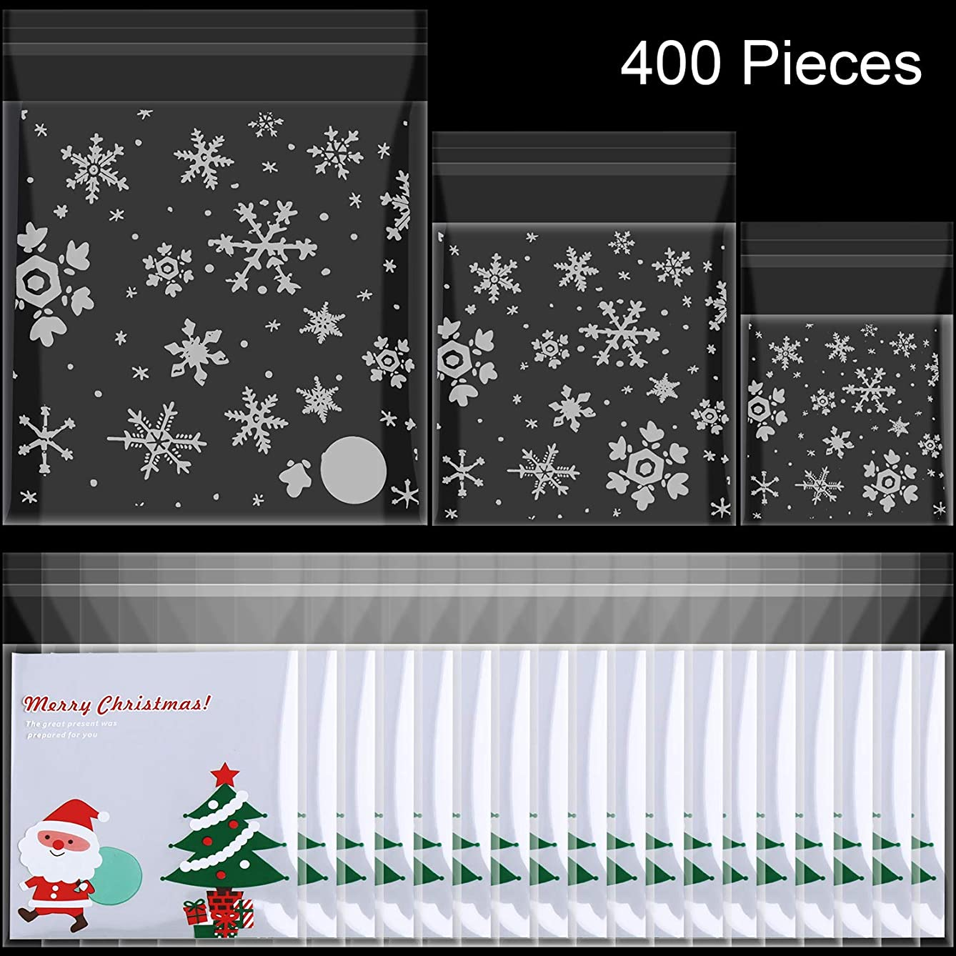 SATINIOR 400 Pieces Christmas Clear Treat Bags Self-Adhesive Cellophane Cookie Bakery Candy Bags Resealable Snowflakes Santa Claus Tree Pattern Gifts Bags