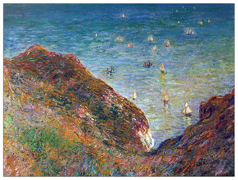 ArtPlaza TW91846 Monet Claude - On The Cliffs of Pour Ville, Fine Weather Decorative Panel 35.5x27.5 Inch Multicolored