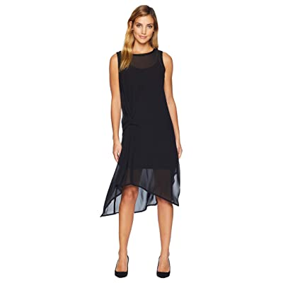 CATHERINE Catherine Malandrino Sleeveless Midi Dress w/ Front Tie Knot (Black Beauty) Women