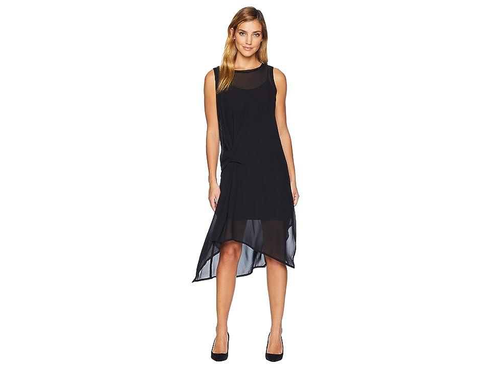 CATHERINE Catherine Malandrino Sleeveless Midi Dress w/ Front Tie Knot (Black Beauty) Women