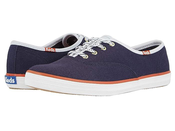 1950s Style Shoes | Heels, Flats, Saddle Shoes Keds Champion Varsity Seasonal Solids Navy Womens Shoes $45.66 AT vintagedancer.com