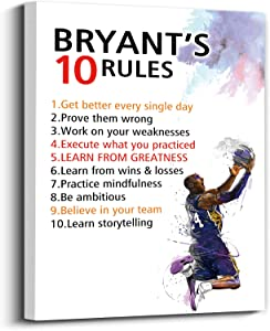 Kobe Bryant painted famous quotes basketball decorative paintings suitable for libraries, schools, gyms, offices, active inspirational decoration, framed (29*38cm)