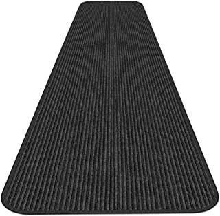 House, Home and More Indoor Outdoor Double-Ribbed Carpet Runner with Skid-Resistant Rubber Backing - Smokey Black - 4 Feet x 30 Feet