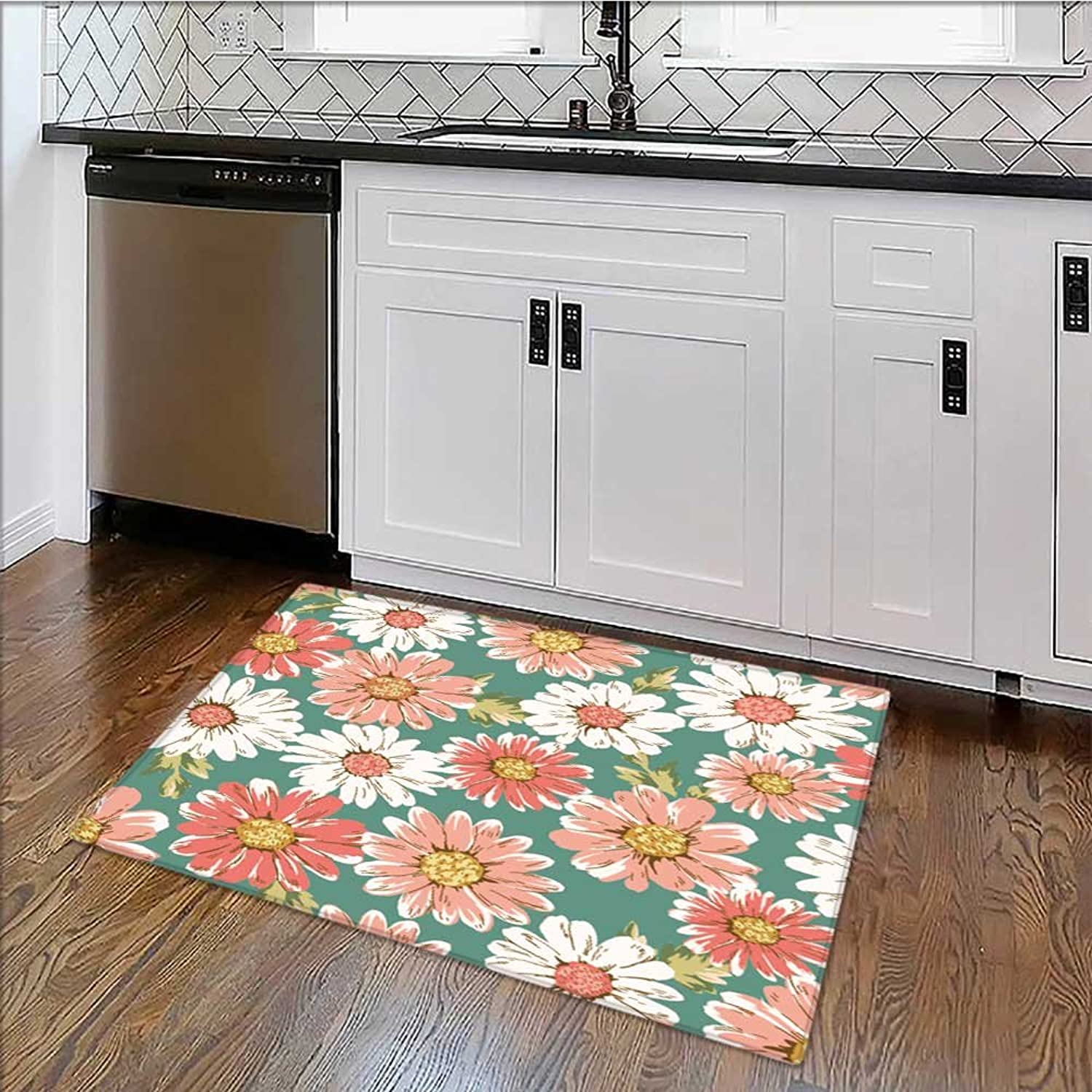 Anti-Static Rugs Flower Daisy printgreen Background Non-to x ic Waterproof W39 x H20