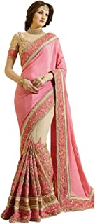Nivah Fashion Women's Net Saree With Unstitched Blouse Piece