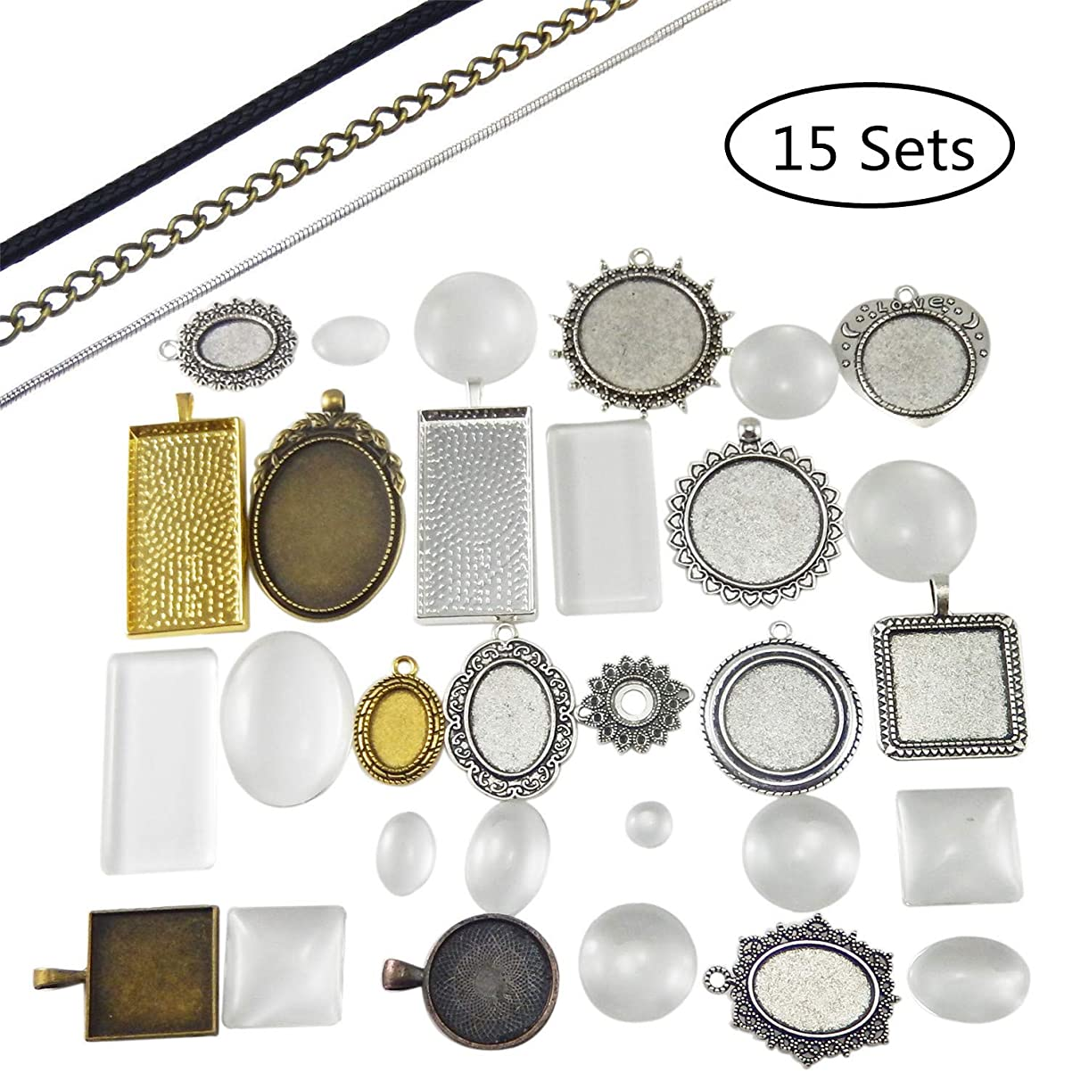 JJG 15 Sets Mixed Setting Tray Pendant with Glass Cabochons Bronze Silver for Jewelry Making, Free 15 Chains ivejk1650