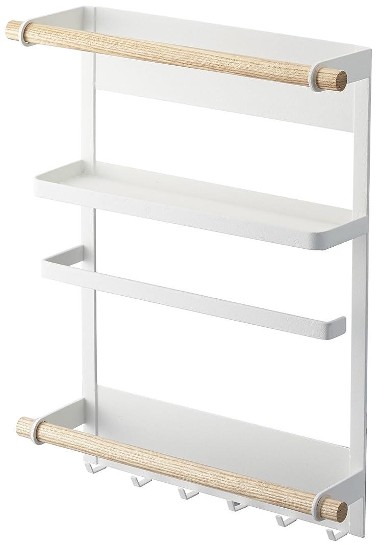 あざアトミック子豚山崎実業 マグネット冷蔵庫サイドラック ホワイト 約W27.5×D7.5×H34cm トスカ キッチンペーパーホルダー 2901