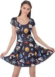 CowCow Womens Space Rocket Planet Sun Moon Science Rick Morty Short Sleeve Dress, XS-5XL