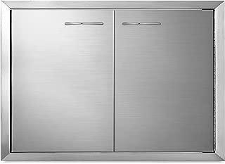 Mophorn BBQ Access Door 33 x22 Inch Stainless Steel BBQ Double Door Outdoor Kitchen Island Doors BBQ Doors Silver