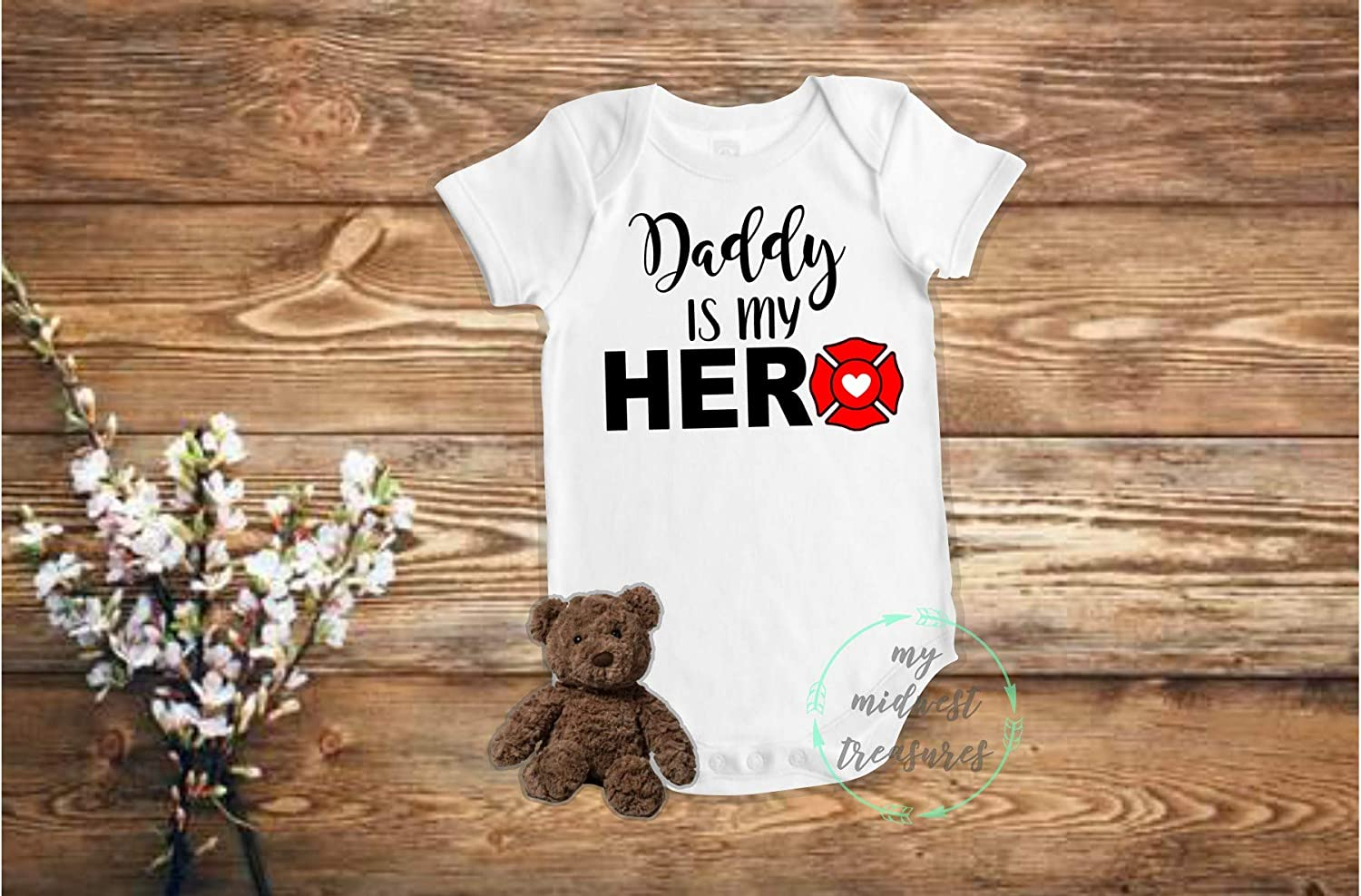 Animer and price revision Popular overseas Firefighter Baby Bodysuit Daddy Is Shirt My or Boy Hero