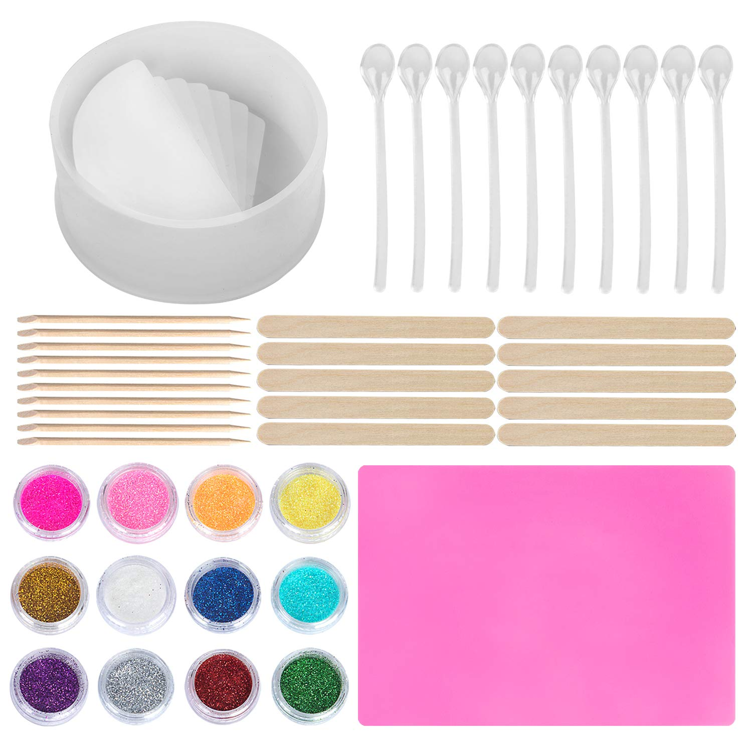 HOMEIDOL Silicone Resin Mold, Round Stair Mold with Stir Sticks, Stirring Spoon, Silicone Mat and 12 Color Powder, DIY Planter Pot Mold, Pen Holder Mold for Succulent Plants, Flowers Craft Art