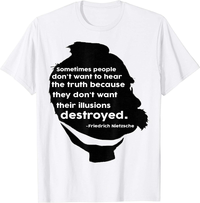 2dfaf6fb344 Men's Destroying Illusions - Friedrich Nietzsche quote - T-Shirt XL XL XL  White c802af
