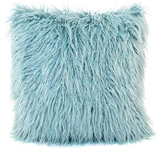 MHJY Faux Fur Pillow Case, Mongolian Fluffy Pillow Cover Soft Plush Throw Pillow Case Cushion Cover Deluxe Home Decor Bed Sofa Car Decorative Pillowcase(18 x 18 Inch)