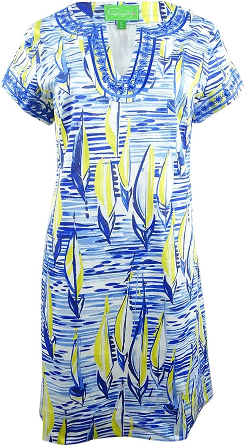 Pappagallo Women& 39;s Printed SplitNeck Shift Dress (8, Lagoon Multi) bluees