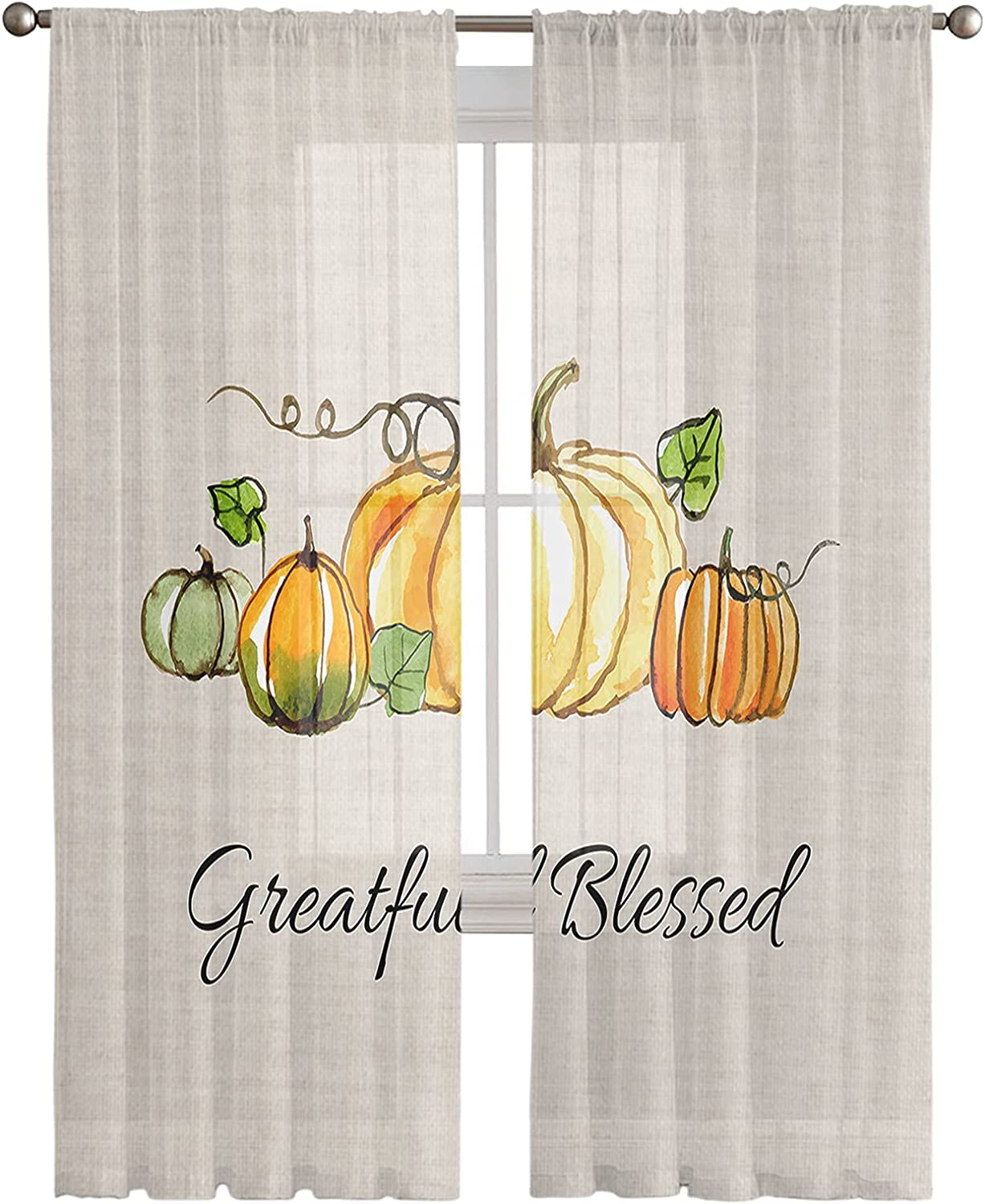 Complete Free Sacramento Mall Shipping Sheer Window Curtains 2 Panels Thanksgiving Lenth inches Pum 108