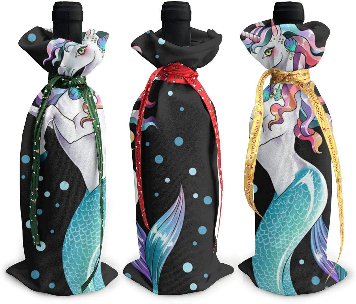 Unicorns Love Cute Mermaid Funny3Pcs Popular Red Xmas Christmas Gla Wine Popular product