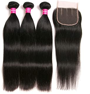 Brazilian Straight Hair With Closure 3 Bundles Unprocessed Virgin Human Hair Bundles With Lace Closure Three Part Hair Extensions Natural Color(16 18 20+14)