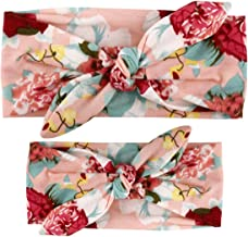 LABANCA 2 Pack Mom and Daughter Floral Print Elastic Cloth Hairbands Bandana Bow Head Band Wrap (Color 3)