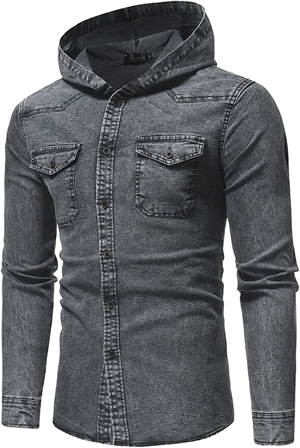 HONGJ Denim Lightweight Jackets Shirts for Mens, Fall Fashion Button Down Casual Hooded Washed Work Shirt with Pockets
