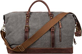 S-ZONE Oversized Canvas Genuine Leather Trim Travel Tote Duffel Shoulder Handbag Weekend Bag (Gray)
