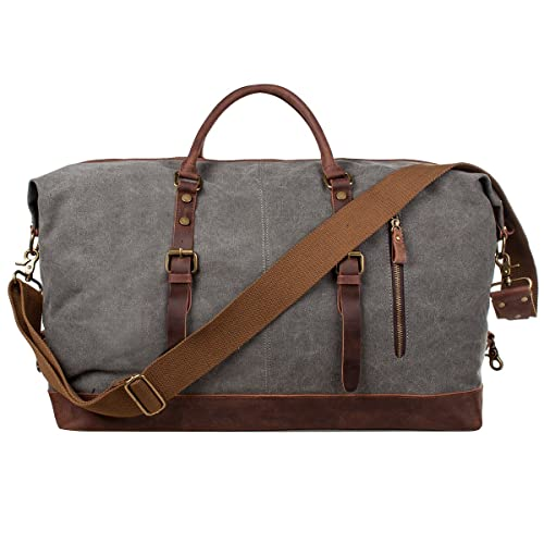S-ZONE Oversized Canvas Genuine Leather Trim Travel Tote Duffel Shoulder  Handbag Weekend Bag 54b214b723