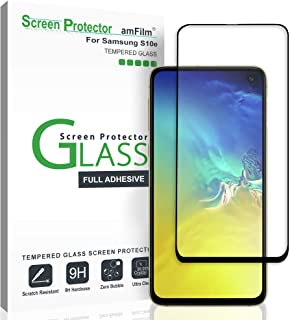 amFilm Screen Protector for Galaxy S10e (2019), Full Cover (Case Friendly) Tempered Glass Film Screen Protector for Samsung Galaxy S10e (Black)