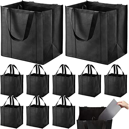 Set of 10 Reusable Grocery Bags Heavy Duty Shopping Bags Large Grocery Totes with Reinforced Bottom Super Sturdy Handles, Black