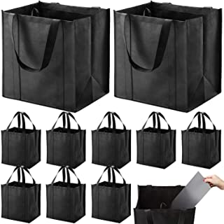 Set of 10 Reusable Grocery Bags Heavy Duty Shopping Bags Large Grocery Totes with Reinforced Bottom Super Sturdy Handles, ...