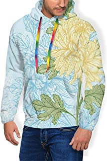 GULTMEE Men's Hoodie Thicken Fluff Sweatshirt,Swirling Tree Branches with Leaves Scroll Style Victorian