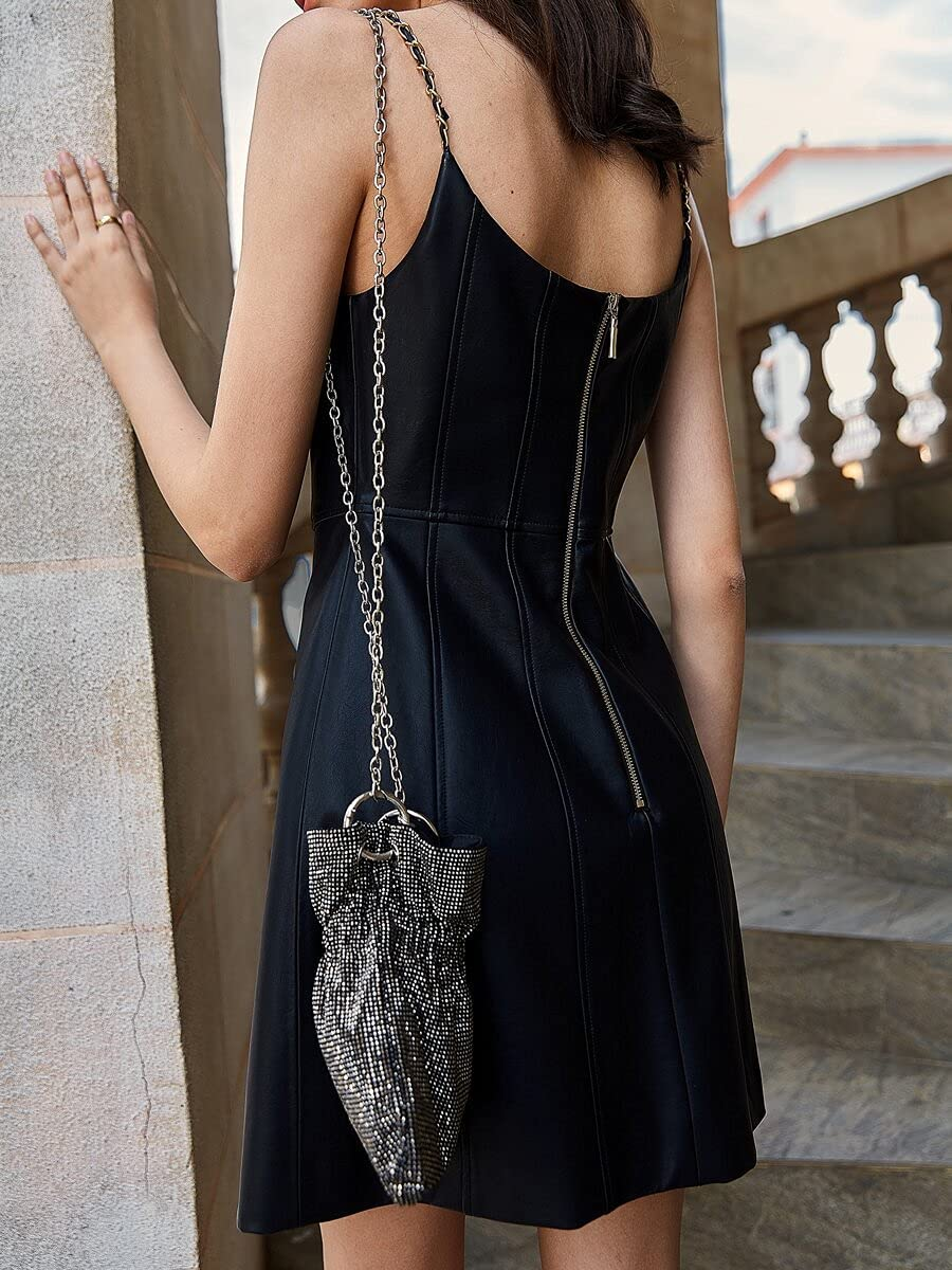 VOLKSLAND Summer Max 59% OFF Dress PU Leather Cami Part Genuine Free Shipping Chain Zip Back
