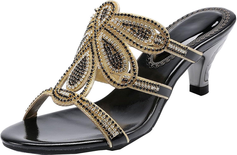 Vimedea Womens Fashion Kitten Heel Dress Sandals Wedding Bride Leisure Slippers T005