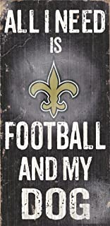 New Orleans Saints Wood Sign - Football And Dog 6''x12''
