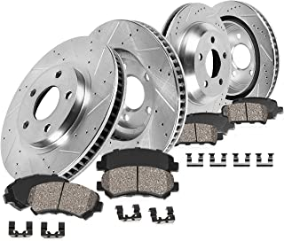 Callahan CDS02245 FRONT 355mm + REAR 350mm D/S 5 Lug [4] Rotors + Ceramic Brake Pads + Clips [ Nissan G37 350Z 370Z ]