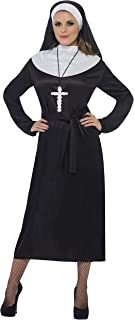 Smiffy's Smiffys-20423L Disfraz de Monja, con Vestido y Velo, Color Negro, L-EU Tamaño 44-46 20423L