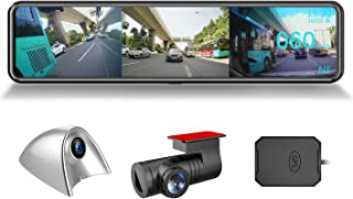 AKEEYO 2020 世界初革新 ドライブレコーダー ミラー型 12インチ 3カメラ サイドミラー付き サイド死角確認 穴開けなく 3カメラ同時録画 超ワイド12インチ矩形大画面 前1080P後1080Pサイド1080P/720P カメラ 死...