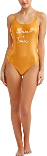Juniors' One Piece Swimsuit (XL, Gold Swim & Tonic)