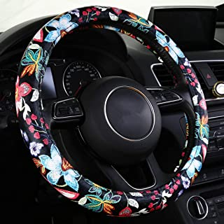 SHAKAR Jacquard Flowers Steering Wheel Covers, Floral Steering Covers for Women,Universal 15.2 inch (Red)