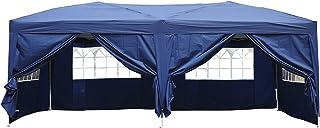 Outsunny Carpa 6x3m Plegable en Acordeon 4 Paneles Laterales 2 Cortinas +Bolsa Transporte Azul