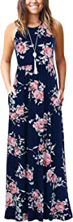 Manydress Women's Sleeveless Floral Print Maxi Dresses Casual Long Dresses with Pockets MY023