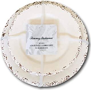 Tommy Bahama Cream White Rustic Crackle Melamine Dinner and Salad Plate (Set of 4 each)