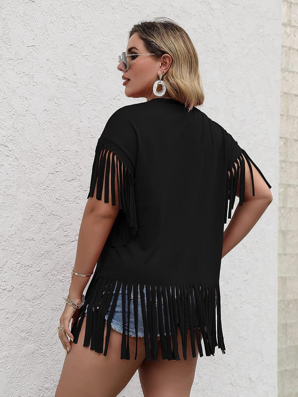 SOLY HUX Women's Plus Size Fringe Hem Half Sleeve Tee Casual Summer T Shirt Top