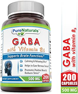 Pure Naturals - GABA with Vitamin B6 Dietary Supplement - 500 Milligrams - 200 Capsules - Promotes Relaxation - Promotes a Positive Mood