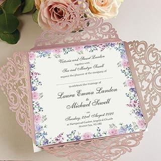 CAMPIONE PARTECIPAZIONI matrimonio fai da te Shabby chic, anniversario fidanzamento compleanno DIY carta perlata antico ro...