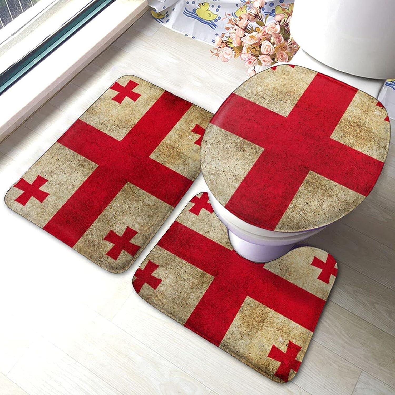 Flag of The Georgia Mail order cheap Bathroom 3 Set Brand new Piece Antiskid Pads