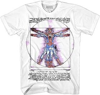 قميص الرجل العنكبوت مارفل قميص Vitruvian Da Vinci Spiderman Avengers قميص البطل الخارق للبالغين