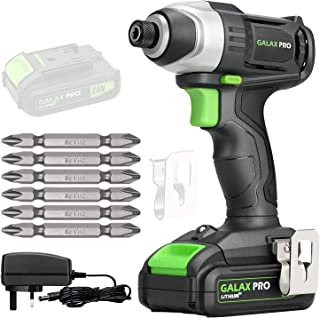 GALAX PRO Cordless Impact Driver 20V, Variable Speed (0-2800RPM),with LED Work Light, 6pcs Screwdriver Bits, 1.3Ah Battery...